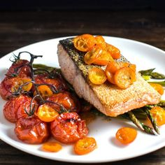 Weeknight meals don't come better than this. Super easy Pan Fried Salmon with Roasted Vegetables, flavored in three different ways!
