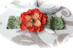 Rustic Deep Sage Green Lace Garter with Bold Orange by PlumPosh, $16.00