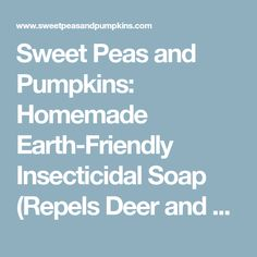 Sweet Peas and Pumpkins: Homemade Earth-Friendly Insecticidal Soap (Repels Deer and Bunnies too)