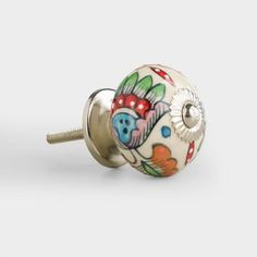 Loving these for Fall!!  Multicolor Floral Knobs, Set of 2 [affiliate link] - from World Market #cabinetry #doorknob #decor #ceramic #design #fall #trending