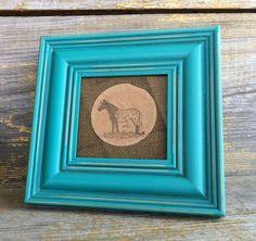 Horse Art Piece, Framed, Black Horse on Burlap Background...............Free US Shipping