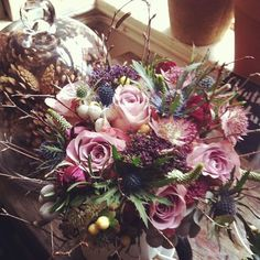 warm winter lilac tones with thistle and twig