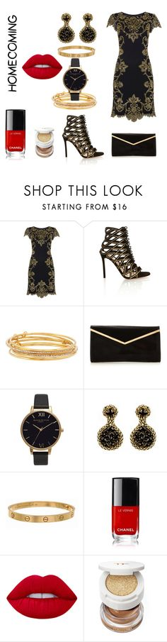 """""""Golden girl"""" by amrinjo ❤ liked on Polyvore featuring Raishma, Gianvito Rossi, Kate Spade, Olivia Burton, Nicole Romano, Cartier, Lime Crime, Tom Ford, cute and chic"""