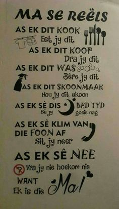 Ma se reels.... Mama Quotes, Cute Quotes, Qoutes, Afrikaanse Quotes, Goeie Nag, Life Thoughts, Positive Thoughts, Friendship Quotes, Wise Words
