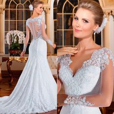 Vestido De Noiva 2016 sereia ver através voltar sereia vestidos De casamento Sexy manga comprida vestidos 2016 Lace Vestido De Noiva