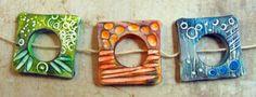 Artisan Connector Beads  Handmade from Polymer by MargitBoehmer, $15.00