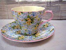 VTG Shelley Primrose CHINTZ 13586 Ripon CUP & SAUCER blue yellow floral