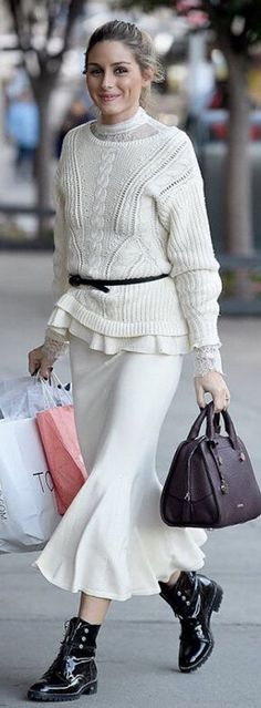 Olivia Palermo in shirt and sweater – Chelsea28  Purse – Max & Co.  Shoes – Dior