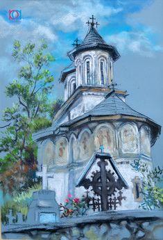 Mirela Hagiu - Biserică la Horezu / Church at Horezu, 40 x 30 cm, pastel / crayon Pastel, Watercolor, Country, House Styles, Artist, Artwork, Painting, Beautiful, Romania