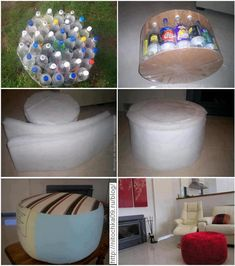 recycle plastic bottles MAKE A NICE HUGE OTTOMAN.... MUST MAKE ONE OF THESE..MAYBE THIS WINTER? MAKE ONE FOR, WITH KAYLEE FOR HER ROOM THIS WINTER...BIGGEST PROBLEM..SODA BOTTLES..FAMILY AND I DO NOT DRINK THE STUFF....????