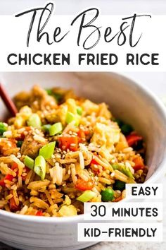 Easy Chicken Fried Rice is a quick and simple dinner you can make any night of the week. This stir fry is ready in just 30 minutes, full of healthy vegetables and kid-friendly, too - you can even make it if you don't have any leftover rice on hand! Chicken Fried Rice Recipe Easy, Easy Rice Recipes, Fried Chicken, Easy Dinner Recipes, Asian Recipes, Chicken Recipes, Healthy Recipes, Pf Changs Fried Rice Recipe, Easy Fried Rice