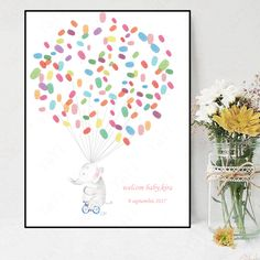 DIY Fingerprint Tree Signature Canvas Painting Animal Family for Baby Shower Decoration Gift Guest Book Baby Shower Fingerprint, Fingerprint Tree, Baby Shower Parties, Shower Party, Festival Party, Animal Paintings, Baby Shower Decorations, Party Supplies, Baby Canvas