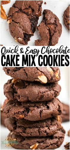 Chocolate Cake Mix Cookies made with 5 ingredients in minutes! Soft, fudgy chocolate cookies made from cake mix loaded with chocolate chips and pecans. Perfect easy chocolate cake mix cookie recipe! #cookies #chocolate #cakemix #easycookies #cookie #recipe #baking #dessert from FAMILY COOKIE RECIPES via @familycookierecipes Easy No Bake Desserts, Easy Desserts, Delicious Desserts, Dessert Recipes, Top Recipes, Family Recipes, Recipies, Vegan Recipes, Fudge