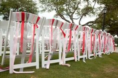 chairs and ribbons are a match made in heaven  Photography by paulaplayer.com, Wedding Planning by stunningandbrilliantevents.com