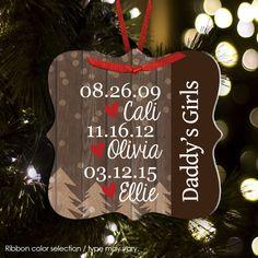 Christmas ornament, parents kids birthdates aluminum ornament