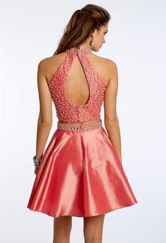 Two-Piece Taffeta Dress with Pearls #camillelavie #CLVprom