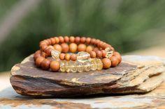 Citrine and Sandalwood Stack Bracelet Yoga by HappyGoLuckyJewels, $26.00