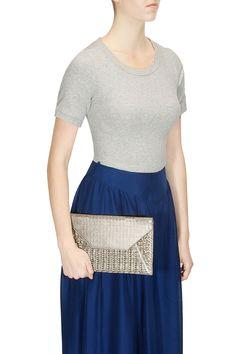 Gunmetal mixed weave envelope clutch by Suede.   Shop now: http://www.perniaspopupshop.com/designers/suede-by-devina-juneja  #shopnow #perniaspopupshop #suede #bags