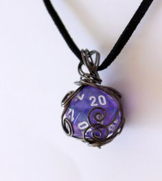 Wire-Wrapped D20 Purple Borealis Dice Necklace by HoneysuckleRoseC