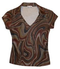 $9.95 with free shipping: Rave City Groovy Psychedelic Funky 70s Top brown