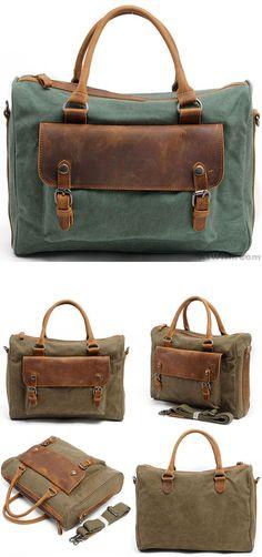 4e94bd1437 Retro Thick Canvas Splicing Leather Zipper Handbag Square Briefcase Laptop Shoulder  Bag so cute !