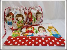 Lunch Bag ハンドメイド お弁当袋3点セット プリンセスガールズ 赤 インテリア 雑貨 Handmade ¥530yen 〆05月23日
