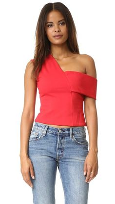 13029593cb Michelle Mason Asymmetrical Strap Top Off One Shoulder Tops