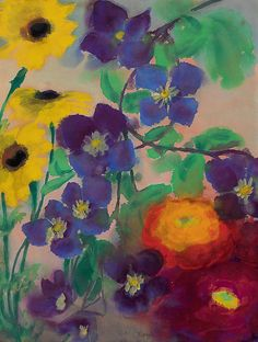 Emil Nolde (1867-1956) Blumen (Flowers), watercolor on wet paper.