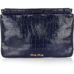 Miu Miu Croc-effect patent-leather clutch ($495) ❤ liked on Polyvore