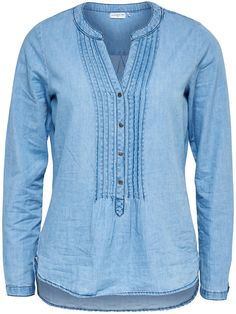 DENIM OVERHEMD MET LANGE MOUWEN, Light Blue Denim