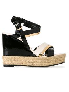 LANVIN Patent Wedge Sandals. #lanvin #shoes #sandals