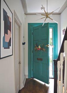 Modern Hallway Makeover Modern and contemporary hallway makeover. Period home modern hallway design. M&L Paints Niblock. Painted Interior Doors, Painted Doors, Interior Paint, Painted Stairs, Painted Walls, Interior Ideas, Bright Hallway, Hallway Colours, Teal Door