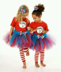 Thing one thing two this is what i want for the girls for halloween