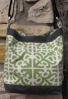 Hobo Tote Bag with Waxed Canvas Trim - Ready to Ship