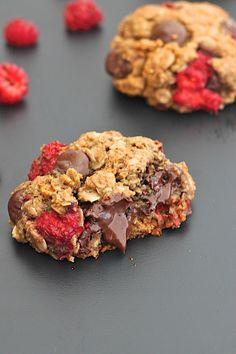 Flourless Dark Chocolate Raspberry Almond Butter Oatmeal Cookies