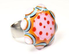 Lampwork Glas Wechselring Aufsatz von Zitroenchen Design auf DaWanda.com