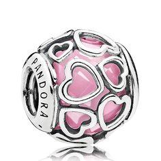 PANDORA Encased in Love, Pink CZ Charm