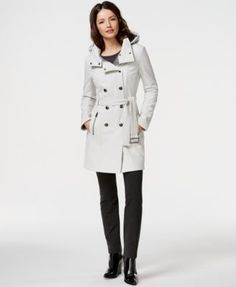 Calvin Klein Water-Resistant Hooded Trench Coat===> FINALLY FOUND A JACKET I LOOOVE!!!! I don't know which color I like better, black or white... They're both so adorable.