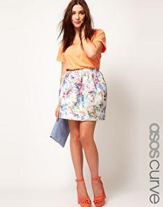 Enlarge ASOS CURVE Lantern Skirt In Floral Jacquard #plussize