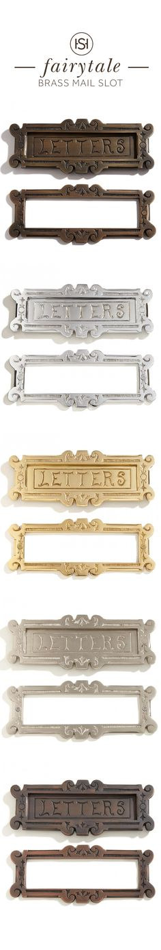 """Add some whimsy to your front entrance with the Fairytale Solid Brass """"Letters"""" Mail Slot, featuring an ornate border and unique typeface."""