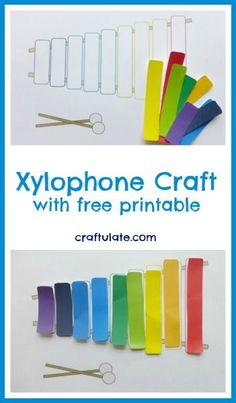 Xylophone Craft with free printable from Craftulate                                                                                                                                                                                 More