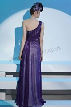 Purple One-shoulder Ruched Chiffon Evening Prom Dress 2013 fashion style