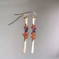 Sapphire Gold Stems Amethyst Dangles Gold Filled by bellajewelsII