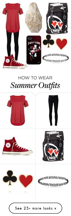 """Harley Quinn inspired outfit"" by taytaystylesirwin on Polyvore featuring Ström, Blue Vanilla, Converse and Alison Lou"