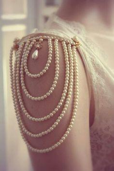 vintage wedding dress with pearl sleeves deatils
