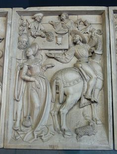 """Reinette: German Style from - I love the """"pocket"""" dangling from her waist. Detail of a carving of the Ten Commandments from 16th Century Clothing, 16th Century Fashion, Wood Sculpture, Sculptures, German Style, Renaissance Costume, Renaissance Clothing, Historical Clothing, German Fashion"""