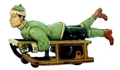 Meier tin penny toy, boy on sled, Germany