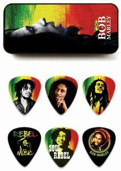 Dunlop Bob Marley Rasta Man Pick Tin with 6 Medium Picks Cool Guitar Picks, Rasta Man, Rasta Colors, Music Gifts, Bob Marley, Reggae, Rock And Roll, Sheet Music