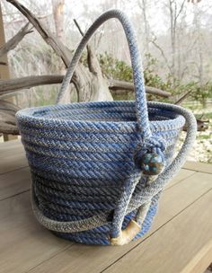 Lariat Basket with Handle JG14003. This would look great in primitive or western décor.