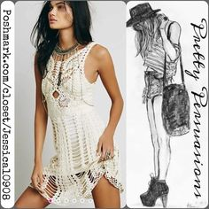 NWT Free People Macramé Fit & Flare Mini Dress NWT Free People Cream Macramé Fit & Flare Mini Dress  MSRP $168.00  Size: Large  Measurements available upon request   Features • slip underneath  • scalloped hemline • fit & flare shaped body • has stretch  • stunning macramé/crochet body • sleeveless   Fair offers welcome - use offer button please  Bundle discounts available  No pp or trades Free People Dresses Mini